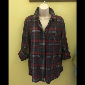 Madewell plaid button down cotton top S